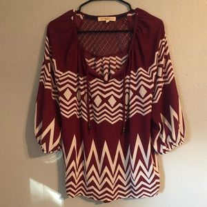 Maroon and white Blouse